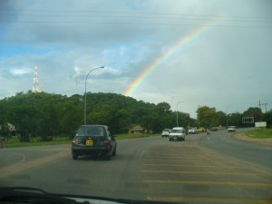 Nissan March under a rainbow near Nyangabwe Hill