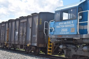 Cab end of ex-Queensland Railways class 2600 unit 2606, owned by African Rail & Traction Services, attached to a grain train on its way through Botswana.